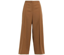 Wool-crepe Culottes Light Brown