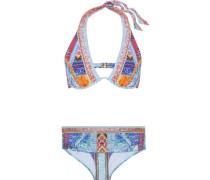 Crystal-embellished printed bikini