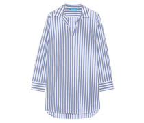 Oversized Striped Cotton Shirt Blue