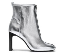 Metallic Leather Ankle Boots Silver