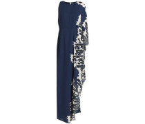 One-shoulder Printed Crepe Gown Indigo Size 0