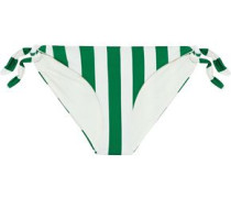 The Jane Striped Low-rise Bikini Briefs Emerald