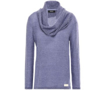 Draped Marled Knitted Sweater Lavender