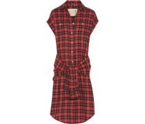 Tie-front plaid flannel shirt dress