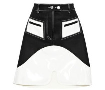Vontz Two-tone Denim And Vinyl Mini Skirt Black Size 12