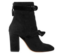 Lorraine Velvet-trimmed Suede Ankle Boots Black