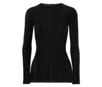 Appliquéd Stretch-jersey And Twill Top Black
