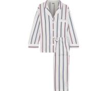 Marina Striped Cotton-poplin Pajama Set White