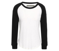Two-tone Cotton And Cashmere-blend Top White