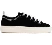 Woman Crystal-embellished Velvet Sneakers Black
