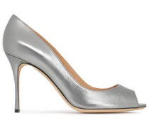 Metallic Leather Pumps Silver