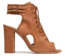 Lace-up Cutout Suede Sandals Camel