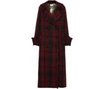 Double-breasted Frayed Metallic Tweed Coat