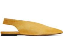 Karrigan Suede Slingback Point-toe Flats Saffron