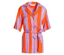 Bow-detailed Striped Silk-blend Shirt Bright Orange