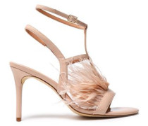 Tasha Feather-embellished Patent-leather Sandals Blush