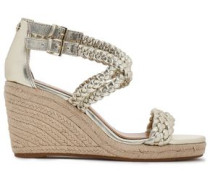 Bailey Braided Metallic Leather Wedge Espadrilles Gold