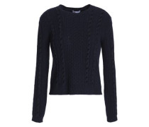Velvet-trimmed cable-knit sweater