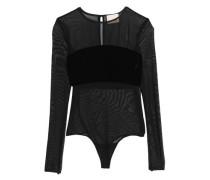 Velvet-paneled mesh bodysuit