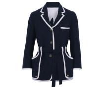Belted Grosgrain-trimmed Cotton-crepe Jacket Navy