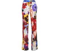 Floral-print stretch-crepe straight-leg pants
