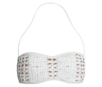 Grosgrain-appliquéd bandeau bikini top