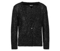 Sequin-embellished Knitted Cardigan Black