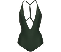 Woman Africa Knotted Printed Swimsuit Army Green