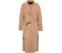 Belted Wool-blend Felt Coat Light Brown