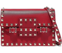Rockstud Buckled Leather Shoulder Bag Red Size --
