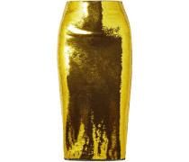 Metallic mesh midi pencil skirt