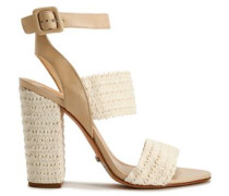 Crocheted and leather sandals