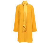 Silk-cady Mini Shirt Dress Saffron Size 12