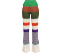 Striped Crochet-knit Straight-leg Pants Green