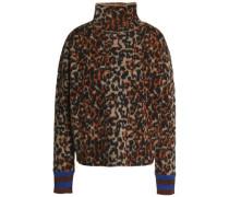 Leopard-print Jacquard-knit Turtleneck Sweater Animal Print