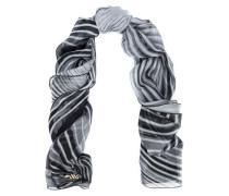 Striped silk-chiffon scarf