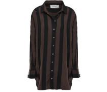 Embellished Striped Twill Shirt Chocolate