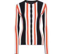 Striped Ribbed Silk Cardigan Black