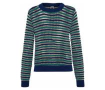 Metallic striped open-knit wool-blend sweater