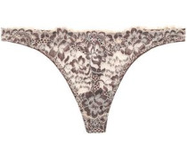 Woman Corded Lace Thong Beige