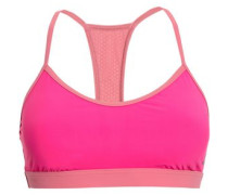Two-tone Mesh-trimmed Sports Bra Fuchsia