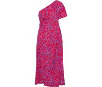 One-shoulder Floral-print Silk-blend Seersucker Midi Dress Red Size 12