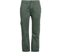 Cropped Cotton-blend Twill Slim-leg Pants Grey Green  3