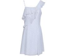 Ruffled Polka-dot Georgette Mini Dress White