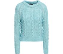 Cable-knit Cotton-blend Sweater Light Blue