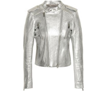 Metallic Textured-leather Biker Jacket Silver