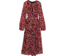 Belted Floral-print Silk-chiffon Midi Dress Black