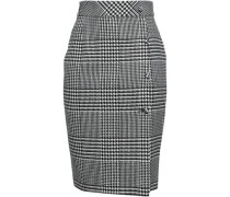 Button-detailed Prince Of Wales Checked Jacquard Pencil Skirt Gray