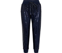 Giles Cropped Sequined Jersey Track Pants Navy