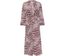 Woman Wrap-effect Zebra-print Crepe De Chine Midi Dress Merlot